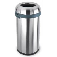 simplehuman-afvalemmer-bullet-open-top-can-brede-opening-60-liter-zilver - SH 000756 mat/RVS