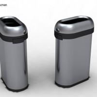 simplehuman-afvalemmer-bullet-open-slimline-50-liter-zilver - SH 013442