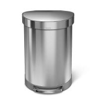 simplehuman-afvalemmer-half-rond-60-liter-zilver - SH 018539