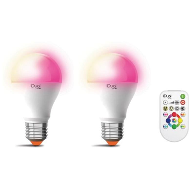 iDual Whites A E27 LED + RGB 2 stuks met afstandbediening