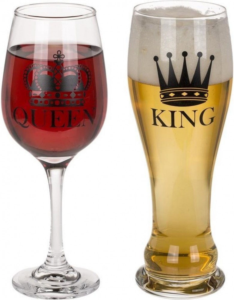 King & queen drinking glass set