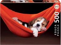 puzzel-slapende-hond-in-een-hangmat-500-stukjes - EDU-18477