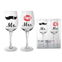 Wine Glass With Kiss And Moustache Decor