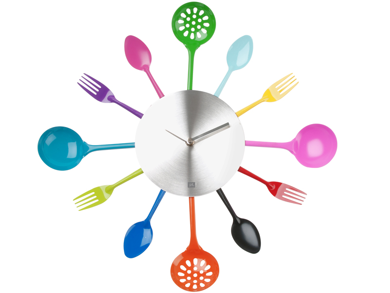 Muurklok Bestek Silverware Multi Colour pt,
