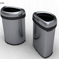 simplehuman-afvalemmer-bullet-open-top-can-semi-round-60-liter-zilver - SH 013459