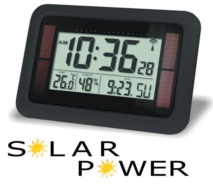 Balance Time Solar Wandklok Digitaal Zwart