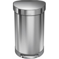 simplehuman-afvalemmer-half-rond-45-liter-zilver - SH 018522