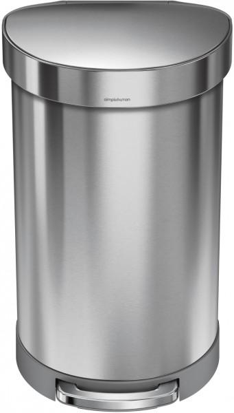 Simplehuman Afvalemmer Half Rond 45 liter (zilver)