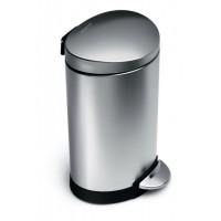 simplehuman-afvalemmer-half-rond-6-liter-zilver - SH 016344