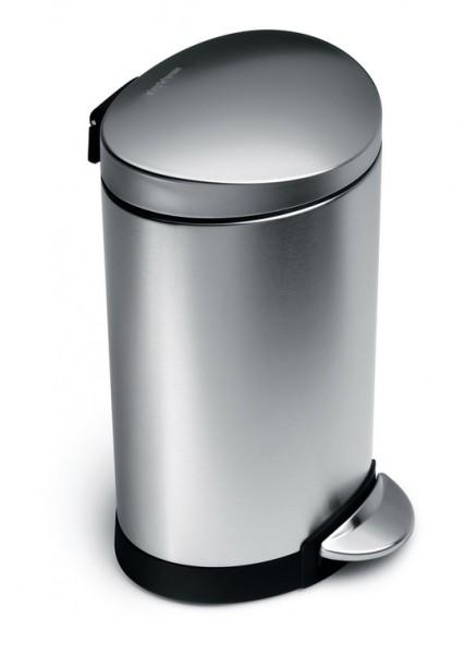 Simplehuman Afvalemmer Half Rond 6 liter (zilver)