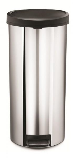 Simplehuman Afvalemmer Rond Glans met kunststof deksel 30 liter (Zilver)