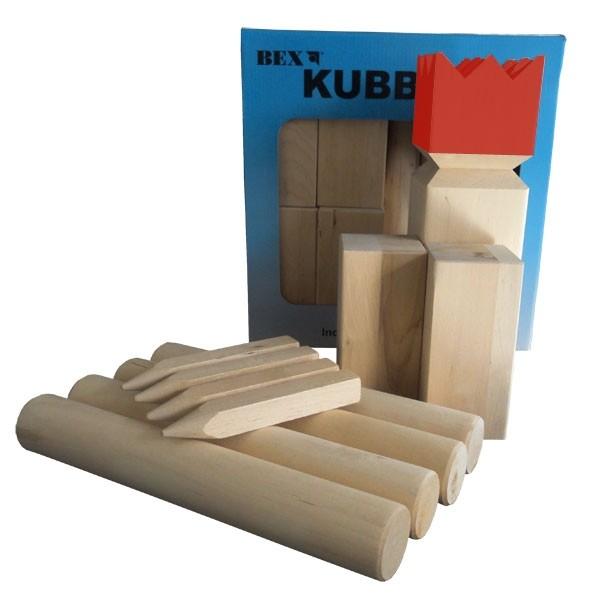 Kubb Viking Original Rubberhout - Rode Koning